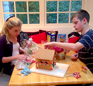 gingerbread houses and Christmas cookie trays